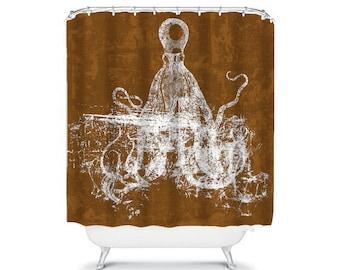 Octopus Shower Curtain Brown Shower Curtain Brown Bathroom Decor Ocean  Bathroom Octopus Decor Beach Shower Curtain