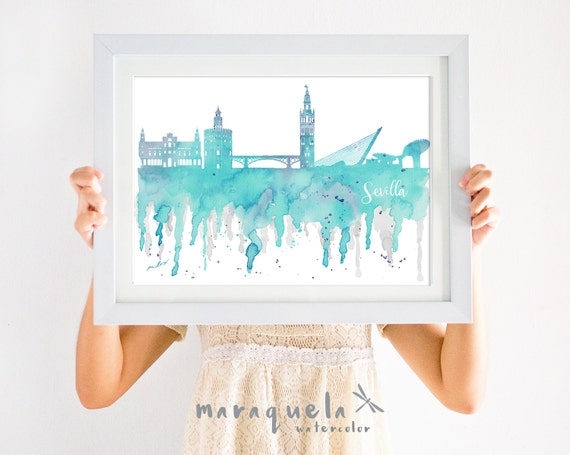 SEVILLE Skyline ANDALUSIA Spain, light BLUE watercolor, affiche Sevilla trip Spain art print, poster Andalucia gift decoration city España