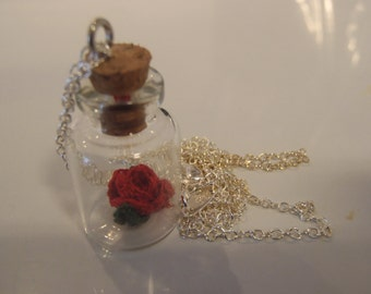Rose in a bottle Necklace and Pendant