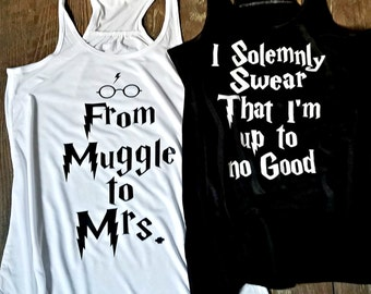 Harry Bridal Party from Muggle To Mrs. Bride I Solemnly Swear That I am up to no Good Team Bride Ladies Flowy Racerback Tank