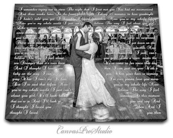 Anniversary day gift First Dance Lyrics, Picture with Wedding Vows, Gift, Wedding Vows Canvas, Wedding Anniversary, Wife for Husband Gift