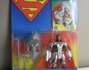 "Superman Man of Steel 1996 Kenner 5"" Action Figure,  Blast Hammer Steel Collectible Figure, Vintage Collectible Toy, DC Comics Super Hero"