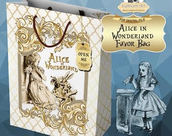 Alice in Wonderland Favor Bag - Alice in Wonderland Party - Instant Download - Alicia en el país de las Maravillas - Printable Party Bag