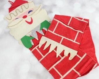 Vintage Santa 1950s Felt wall Christmas card holder. See item details for full description.