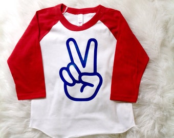 Second Birthday Shirt/ TWO/ Peace sign/ Baby baseball tee/ Toddler Boy/ Toddler Girl