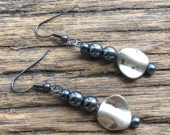 Hematite charm earrings