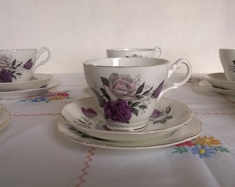 Purple rose patterned tea set by Harleigh, Staffordshire - six person