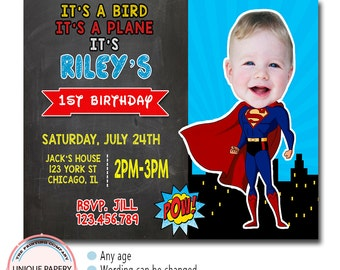 SUPERMAN BIRTHDAY INVITATION, Superhero Birthday Invitation, Boy Birthday Invitation, Super Hero Birthday Invitation, Super Hero Invitation