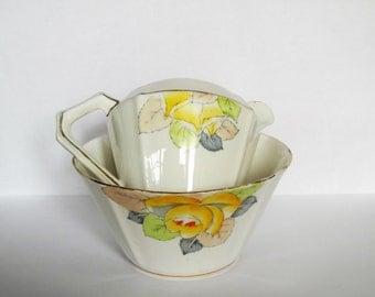 """Vintage """"Durance"""" English bone china milk and sugar set.  Milk jug and sugar bowl set."""