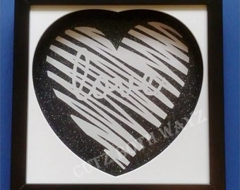 Love papercut with heart mount (template by paperpanda)