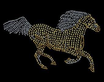 Womans LONG SLEEVE Top Sparkling Rhinestone Rhinestud Running Horse Design 14083