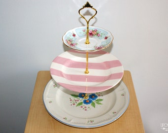 Vintage Plates 3 Tier cupcake stand, 3 tier cake stand, 3 tier appetizer stand, shabby chic 3 tier cupcake stand, three tier dessert stand