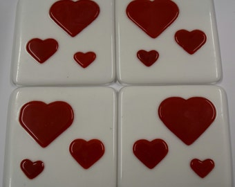 White Coasters with Red Valentine's Hearts