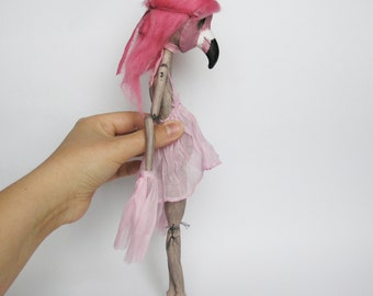 OOAK Art Doll with Flamingo Mask