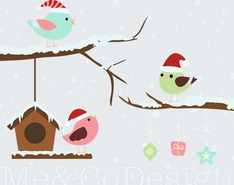 Christmas Sweet Tweets Clipart, Fun Cute Clipart, bird, snow Instant Download, Personal and Commercial Use Clipart, Digital Clip Art