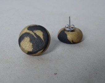 Gold and black stud earrings, polymer clay stud earrings, round studs, polymer clay jewellery, statement earrings, marbled studs, FREE ship