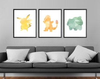 Pokemon Characters Modern Art Prints - Set of 3