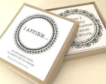 I AFFIRM... card deck, 40 affirmation cards, inspirational cards, affirmations, self help