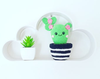 Amigurumi Cactus potted crochet 100% cotton Vegan Decoration Scandinavian Kawaii office room child room manufacturing craft France