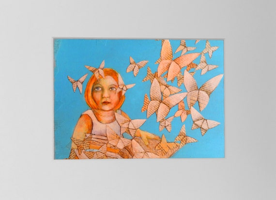 Art print nursery, print butterly, print for bookworm, origami butterfly, acrylic painting, book pages, print Girls, art, gift girl, giclee