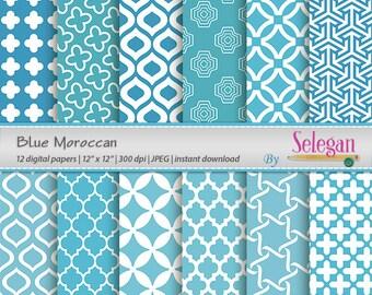 Blue Moroccan, Digital Paper, Scrapbooking, Paper, 12x12, Printable, Moroccan, Pattern, Arabic, Eid, Islamic, Background, Download