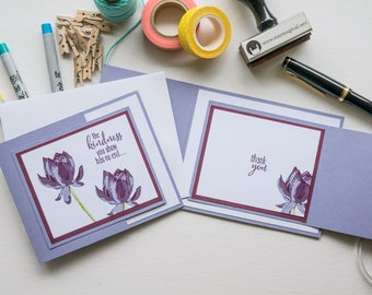 Purple Trifold Thank You Cards, Handmade Stampin Up Greeting Card
