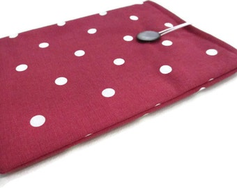 iPad air pouch,10 inch tablet case, tablet cover, fabric iPad cover,  reader sleeve,iPad 2 sleeve,dotty tablet protector,red dotty iPad case