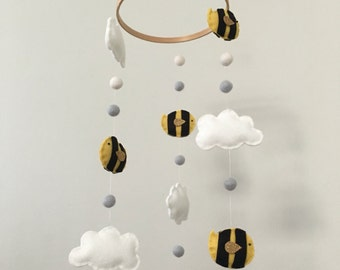 Glitter Gold Bumble Bee Cloud and Pom Pom Felt Nursery Mobile