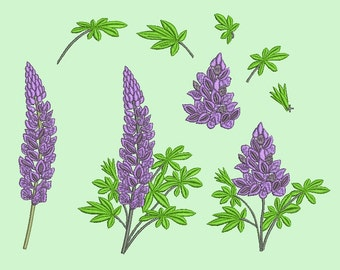 Flowers set Machine embroidery design instant download