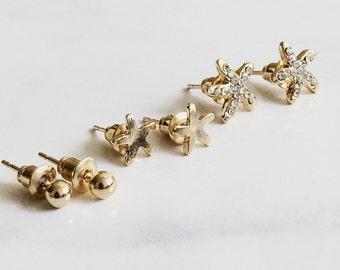3 Pairs Starfish Earrings, CZ Earrings, Sea Star Earrings, Gold Ball Earrings