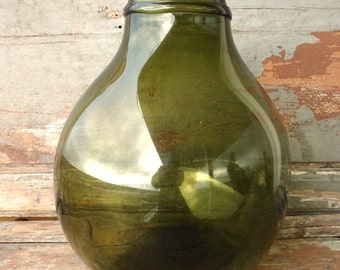 DEMIJOHN 14,1 in Antique French Primitive Green Blown Glass Carboy Wide Mouth End 18 th