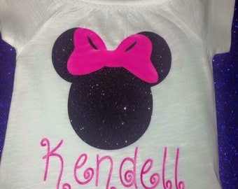 Glitter Minnie Mouse Head With Name