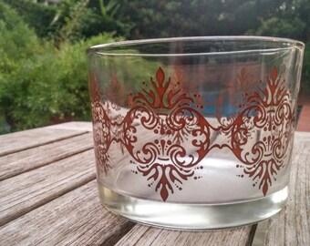 Vintage Damask Glass/Damask Glass Jar/Brown Damask Bowl/Damask Jewelry Holder/Damask Planter/Brown Damask Candle Holder/*FREE GIFT WRAP*