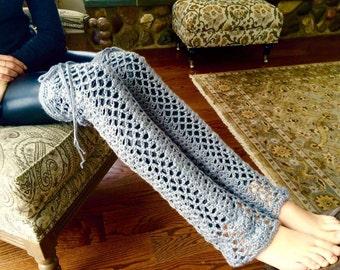 Thigh High Leg Warmers, Boho Leg Warmers, Crochet Leg Warmers, Hippie Leg Warmers, Leg Warmers, Grey Leg Warmers, THE LACY