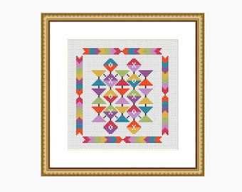 Cross stitch pattern, modern cross stitch, GEOMETRIC AZTEC cross stitch chart - Downloadable PDF