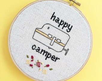 Happy Camper Cross Stitch - Wall Art - Embroidery