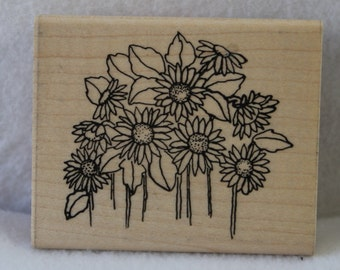 Daisy Flower Field 198 Individual Rubber Stamp D.O.T.S.