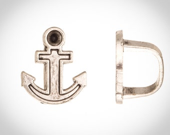 Anchor Licorice Beads Fits 10x8mm Regaliz Leather - Antique Silver Plated Sold per 4pcs