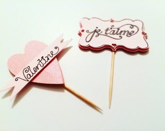 Set of 10 Valentine's Day Cupcake Toppers!