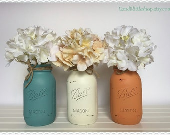 Mason Jar Set-Home Decor-Mason Jars Centerpiece-Wedding Centerpieces-Country Decor-Rustic Decor-Shabby Chic Decor-White-Yellow-Green
