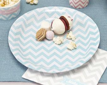 Mint Pastel Paper Plates - Chevron Divine