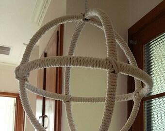 Bird orbital cotton rope hanging play sphere