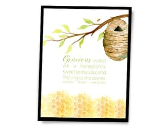 Gracious Words are a Honeycomb | Proverbs 16:24 | Bible Verse Encouragement Inspirational Digital Printable Wall Art for the Home