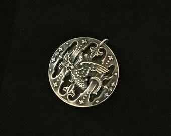 antique french chimera medallion amulet