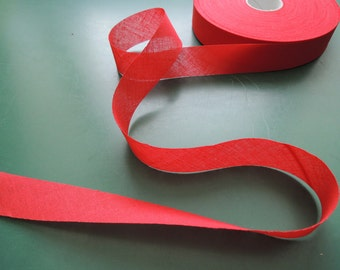 Bias tape | red | Cotton | unfolded | 29 mm | 1 3/16''
