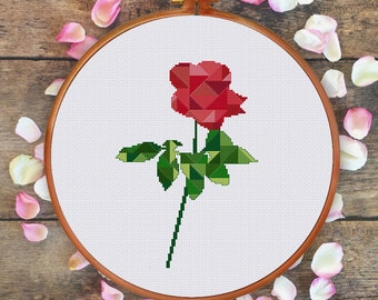 Geometric Rose cross stitch pattern| Modern flower counted chart| Valentine love design gift| Instant download pdf| Nature house diy decor