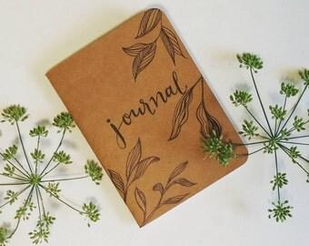 Leaves hand-illustrated mini journal notebook handlettered blank inside