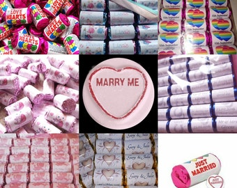 Personalised Mini love heart sweets and parma violets X50