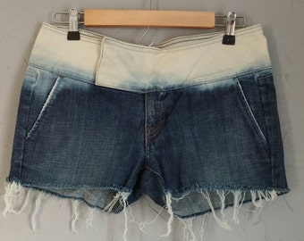 Size 4/6 Arden B denim shorts, upcyled shorts, studded shorts, trouser fit, bleach dyed shorts