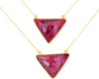 Ruby Necklace, Ruby Pendant Necklace, July Birthstone Necklace, Triangle Necklace, Geometric Necklace, Gift For Her, Ruby Jewelry